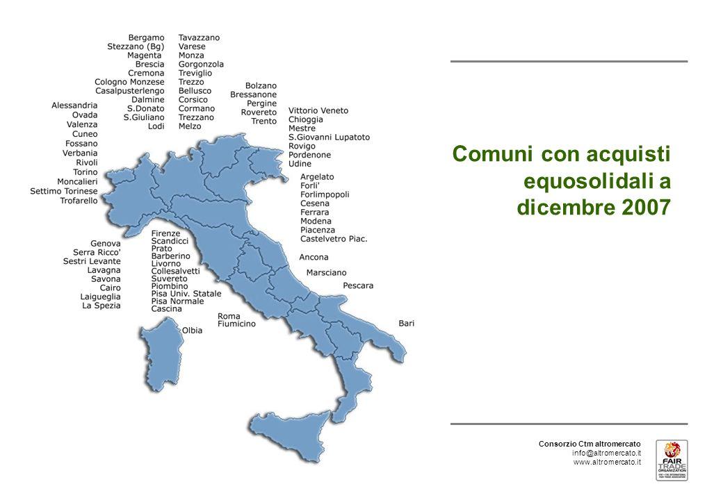 Consorzio Ctm altromercato info@altromercato.it www.altromercato.it Comuni con acquisti equosolidali a dicembre 2007