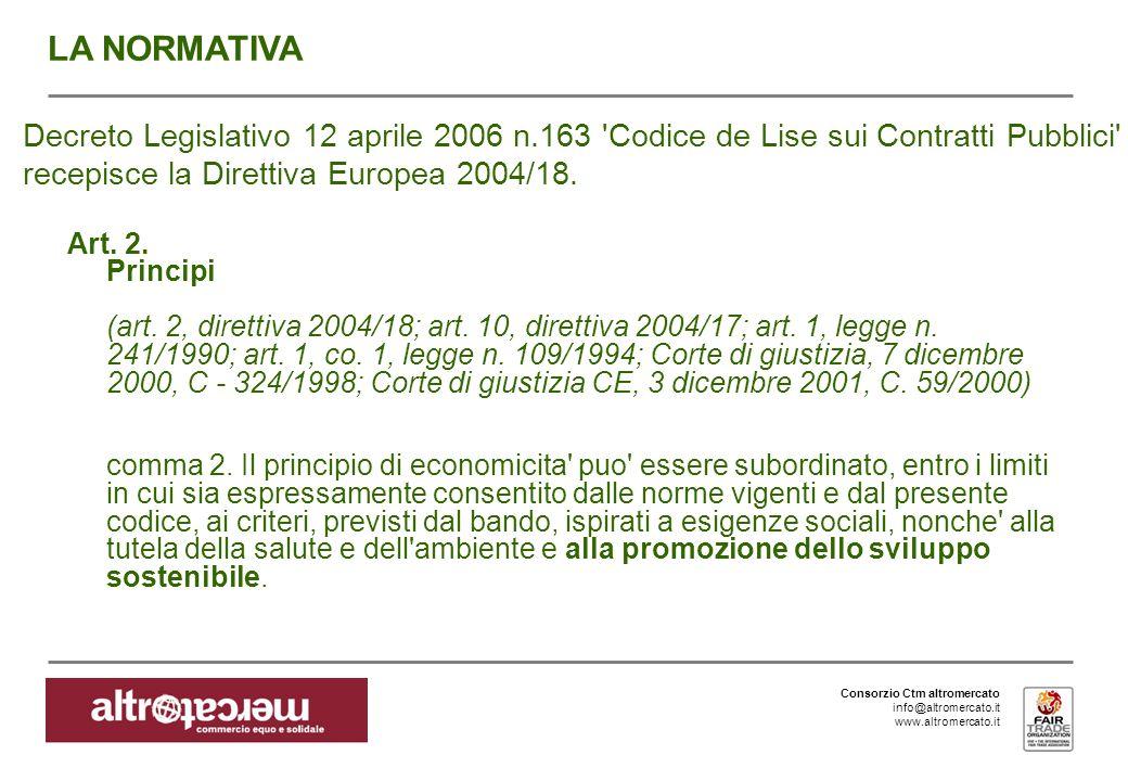 Consorzio Ctm altromercato info@altromercato.it www.altromercato.it Decreto Legislativo 12 aprile 2006 n.163 Codice de Lise sui Contratti Pubblici recepisce la Direttiva Europea 2004/18.