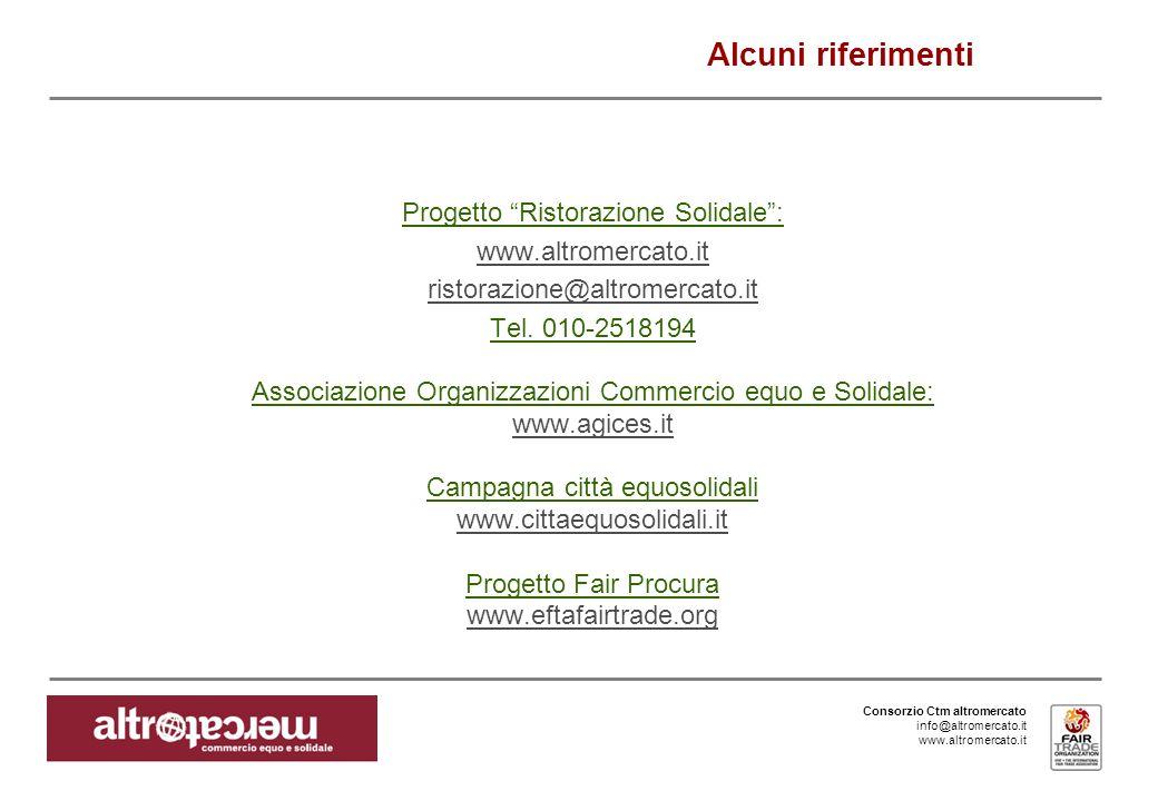 Consorzio Ctm altromercato info@altromercato.it www.altromercato.it Progetto Ristorazione Solidale: www.altromercato.it ristorazione@altromercato.it Tel.