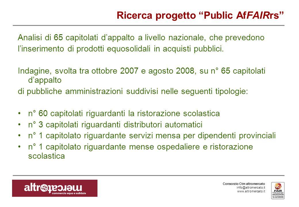 Consorzio Ctm altromercato info@altromercato.it www.altromercato.it Ricerca progetto Public AfFAIRrs Analisi di 65 capitolati dappalto a livello nazio
