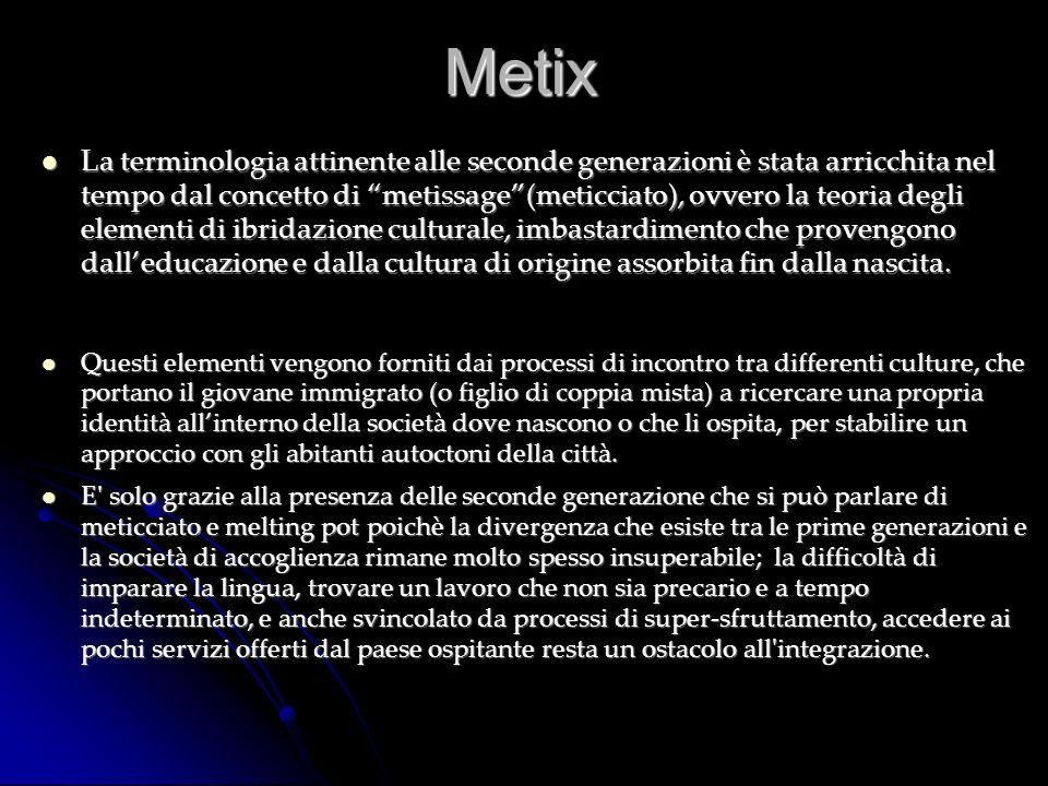 Metix La terminologia attinente alle seconde generazioni è stata arricchita nel tempo dal concetto di metissage(meticciato), ovvero la teoria degli el