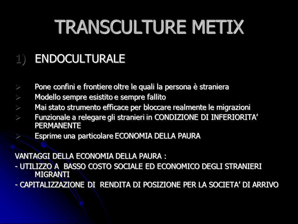 TRANSCULTURE METIX 1)ENDOCULTURALE Pone confini e frontiere oltre le quali la persona è straniera Pone confini e frontiere oltre le quali la persona è