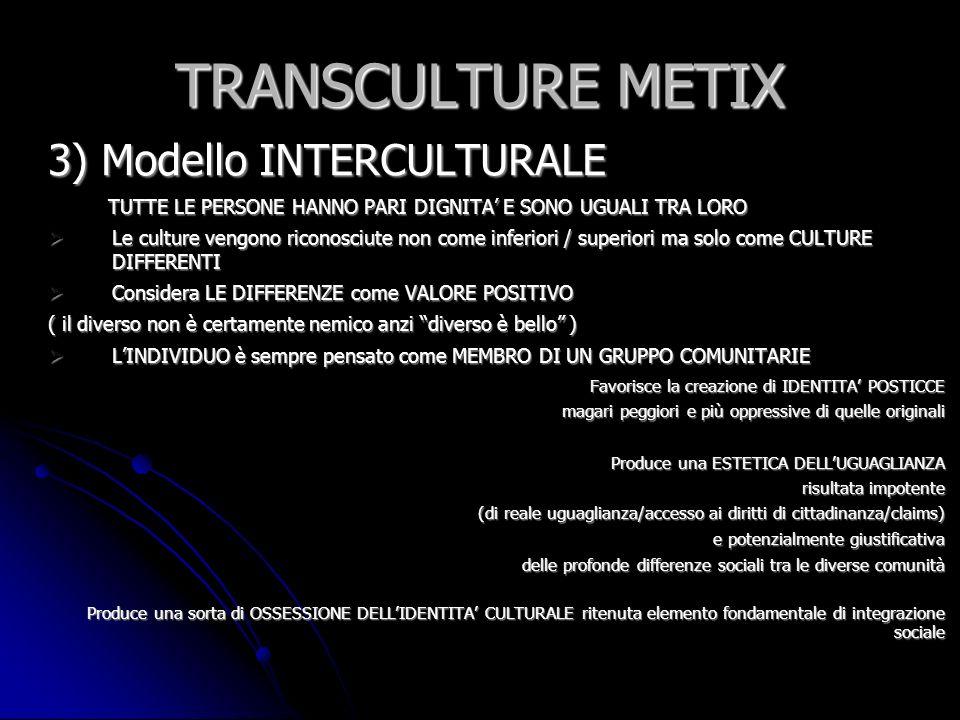 TRANSCULTURE METIX 3) Modello INTERCULTURALE TUTTE LE PERSONE HANNO PARI DIGNITA E SONO UGUALI TRA LORO TUTTE LE PERSONE HANNO PARI DIGNITA E SONO UGU