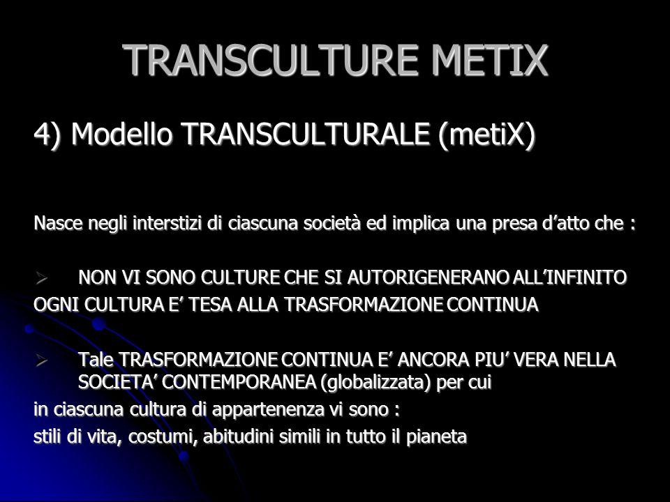 TRANSCULTURE METIX 4) Modello TRANSCULTURALE (metiX) CIASCUNA PERSONA che vive nella società contemporanea E PORTATRICE DI DIVERSE CULTURE CHE TENDONO A RELAZIONARSI TRA LORO IN MODO INESTRICABILE CIASCUNA PERSONA che vive nella società contemporanea E PORTATRICE DI DIVERSE CULTURE CHE TENDONO A RELAZIONARSI TRA LORO IN MODO INESTRICABILE Pensarsi oggi BLOCCATI IN UNA CULTURA è possibile solo con uno SFORZO IDEOLOGICO AL DI FUORI DEI DATI DI REALTA Pensarsi oggi BLOCCATI IN UNA CULTURA è possibile solo con uno SFORZO IDEOLOGICO AL DI FUORI DEI DATI DI REALTA Ciascun uomo/donna contemporanei (TANTO PIU SE MIGRANTE) Ciascun uomo/donna contemporanei (TANTO PIU SE MIGRANTE) VIVE IN UN CONTINUO TRANSITO NEL QUALE CONVIVONO Più CULTURE Ciò che viene definito come CULTURA DORIGINE altro non è che : UN FETICCIO INNALZATO DA COMUNITA IDENTITARIE a difesa di Rendite di Posizione Ciò che viene definito come CULTURA DORIGINE altro non è che : UN FETICCIO INNALZATO DA COMUNITA IDENTITARIE a difesa di Rendite di Posizione