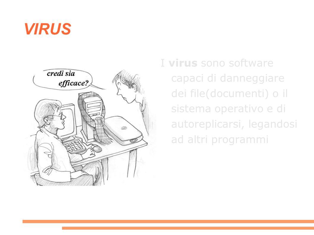 VIRUS I virus sono software capaci di danneggiare dei file(documenti) o il sistema operativo e di autoreplicarsi, legandosi ad altri programmi