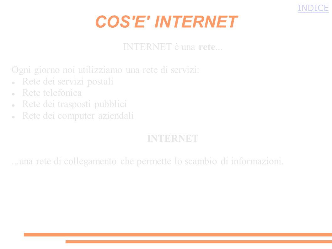 Per avere unidea di che cosè internet, si deve immaginare un grande ragnatela che avvolge la terra, e tutti i punti di intersezioni della rete sono i nostri computer che comunicano con altri computer di tutto il mondo.