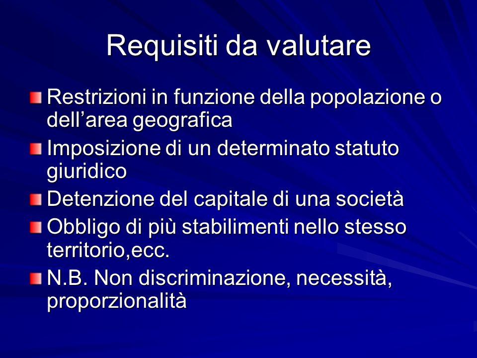 Requisiti da valutare Restrizioni in funzione della popolazione o dellarea geografica Imposizione di un determinato statuto giuridico Detenzione del c