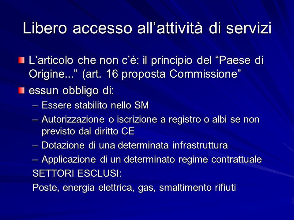 Libero accesso allattività di servizi Larticolo che non cé: il principio del Paese di Origine... (art. 16 proposta Commissione essun obbligo di: –Esse