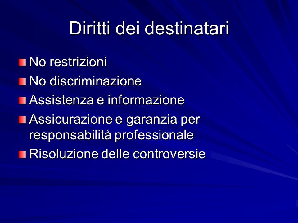 Diritti dei destinatari No restrizioni No discriminazione Assistenza e informazione Assicurazione e garanzia per responsabilità professionale Risoluzione delle controversie