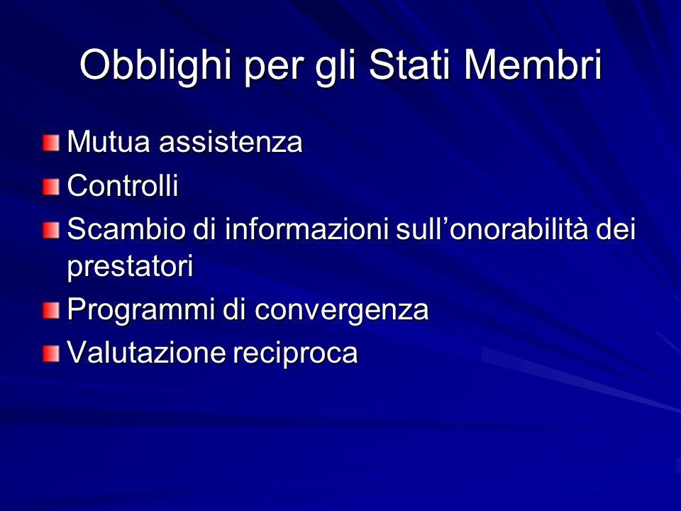 Obblighi per gli Stati Membri Mutua assistenza Controlli Scambio di informazioni sullonorabilità dei prestatori Programmi di convergenza Valutazione reciproca