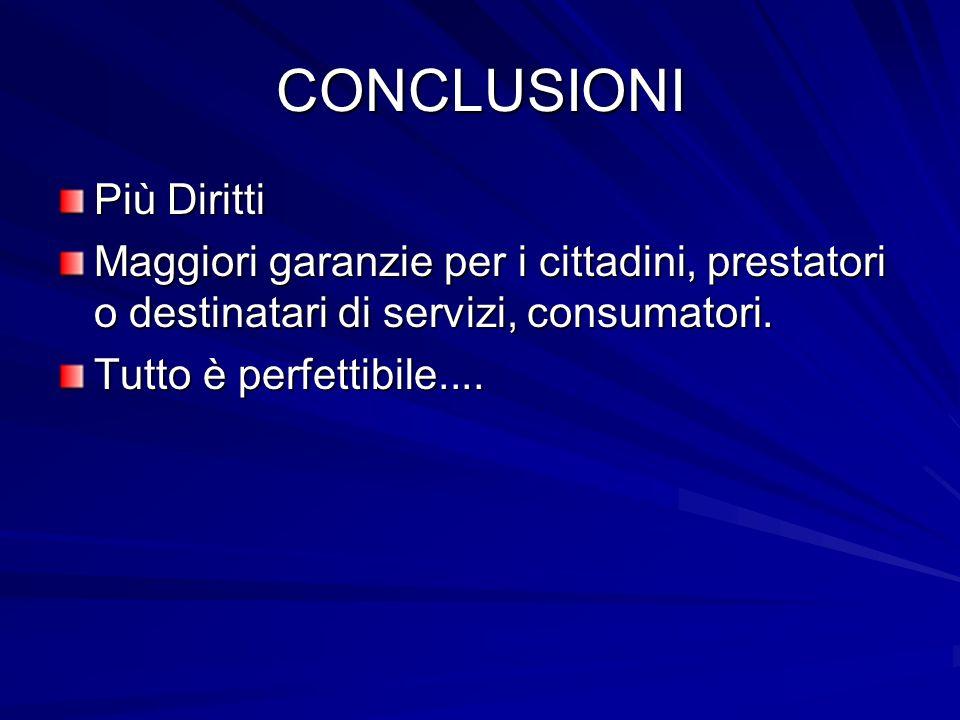 CONCLUSIONI Più Diritti Maggiori garanzie per i cittadini, prestatori o destinatari di servizi, consumatori. Tutto è perfettibile....