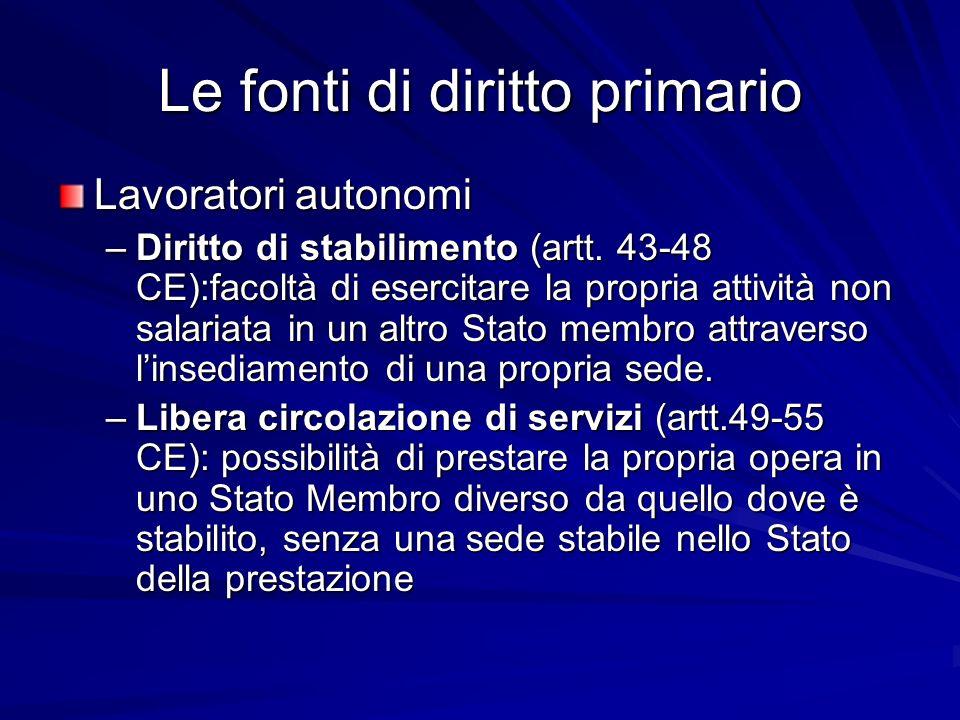Le fonti di diritto primario Lavoratori autonomi –Diritto di stabilimento (artt. 43-48 CE):facoltà di esercitare la propria attività non salariata in