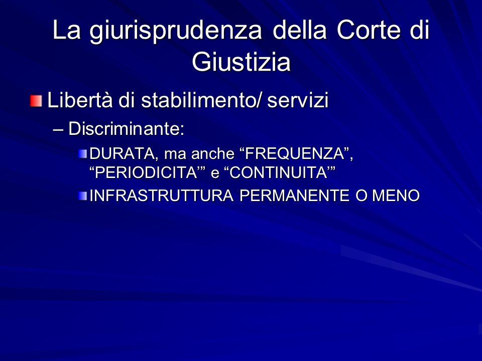 La giurisprudenza della Corte di Giustizia Libertà di stabilimento/ servizi –Discriminante: DURATA, ma anche FREQUENZA, PERIODICITA e CONTINUITA INFRASTRUTTURA PERMANENTE O MENO