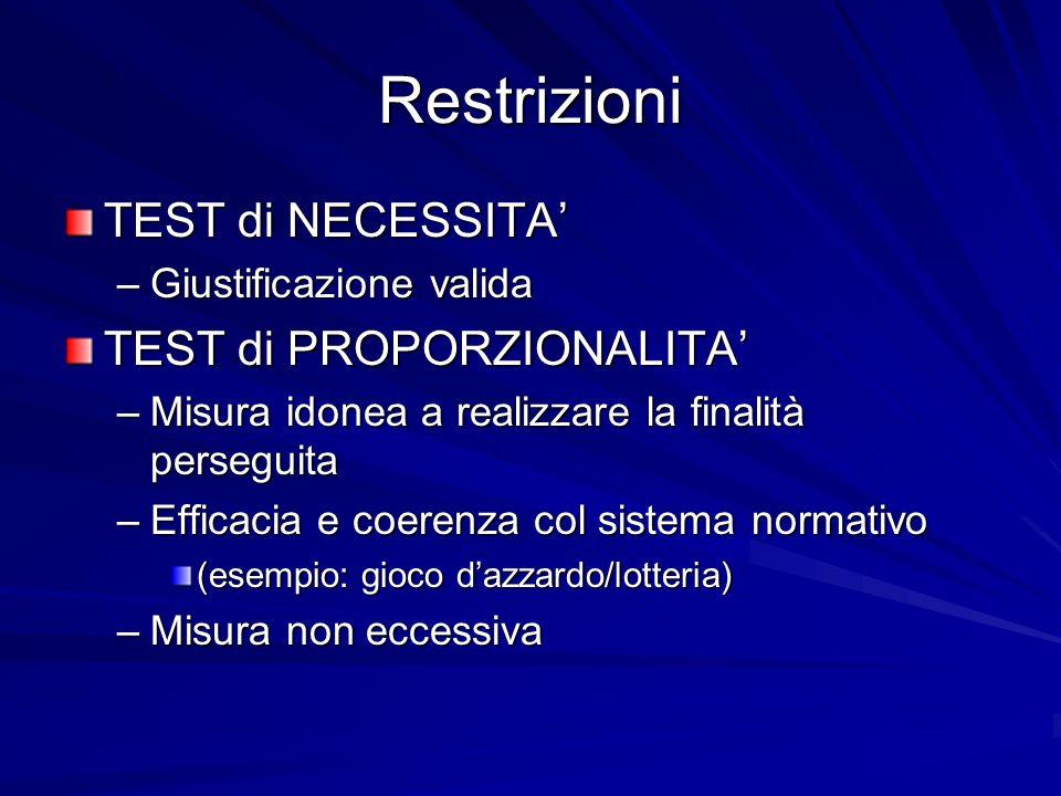 Restrizioni TEST di NECESSITA –Giustificazione valida TEST di PROPORZIONALITA –Misura idonea a realizzare la finalità perseguita –Efficacia e coerenza
