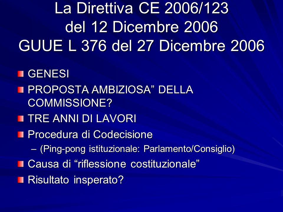 La Direttiva CE 2006/123 del 12 Dicembre 2006 GUUE L 376 del 27 Dicembre 2006 GENESI PROPOSTA AMBIZIOSA DELLA COMMISSIONE? TRE ANNI DI LAVORI Procedur