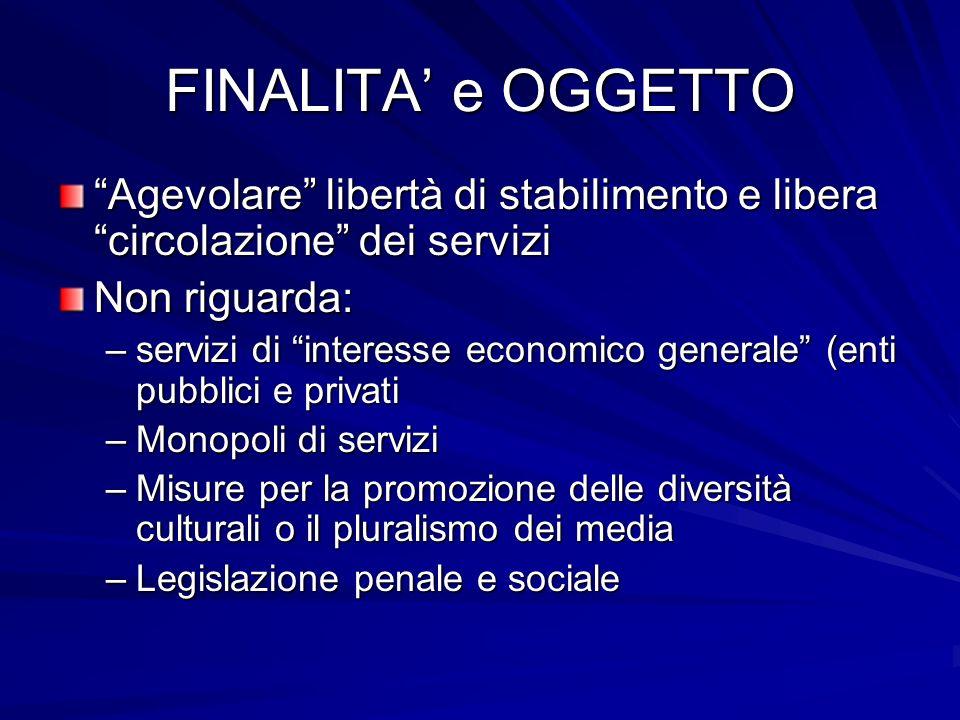 FINALITA e OGGETTO Agevolare libertà di stabilimento e libera circolazione dei servizi Non riguarda: –servizi di interesse economico generale (enti pu