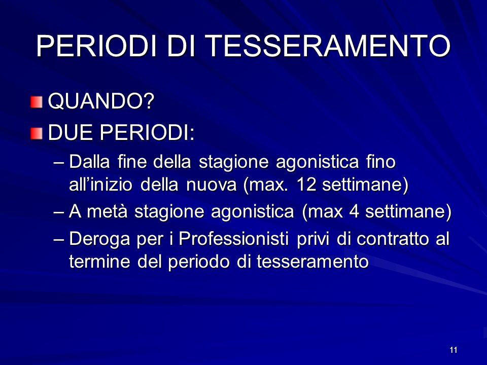 11 PERIODI DI TESSERAMENTO QUANDO.