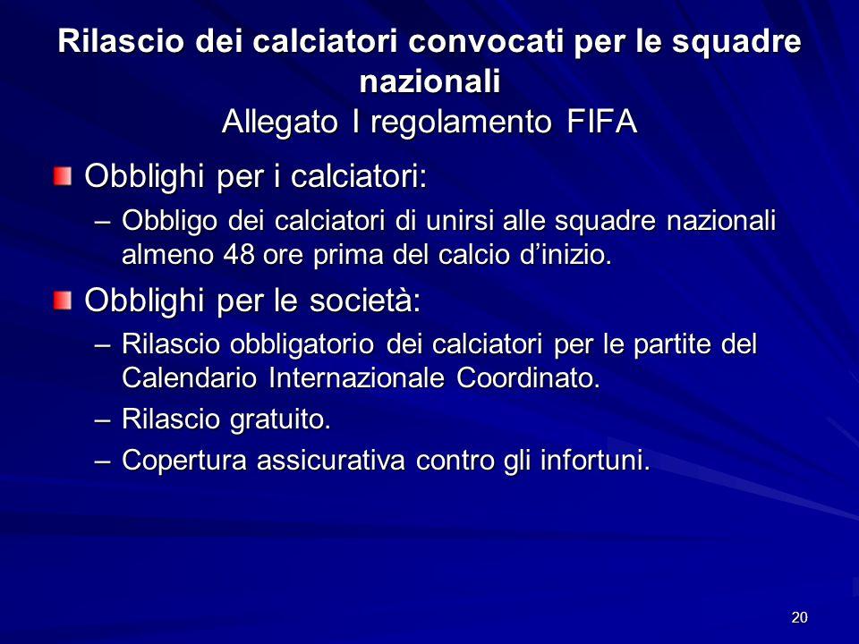 20 Rilascio dei calciatori convocati per le squadre nazionali Allegato I regolamento FIFA Obblighi per i calciatori: –Obbligo dei calciatori di unirsi alle squadre nazionali almeno 48 ore prima del calcio dinizio.