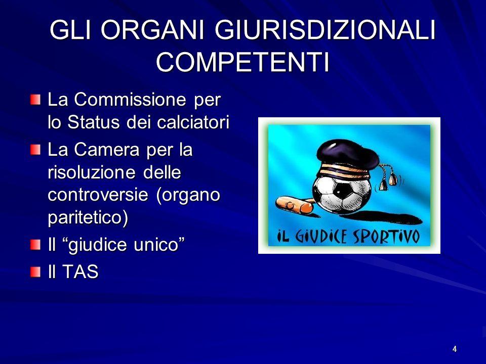 4 GLI ORGANI GIURISDIZIONALI COMPETENTI La Commissione per lo Status dei calciatori La Camera per la risoluzione delle controversie (organo paritetico) Il giudice unico Il TAS