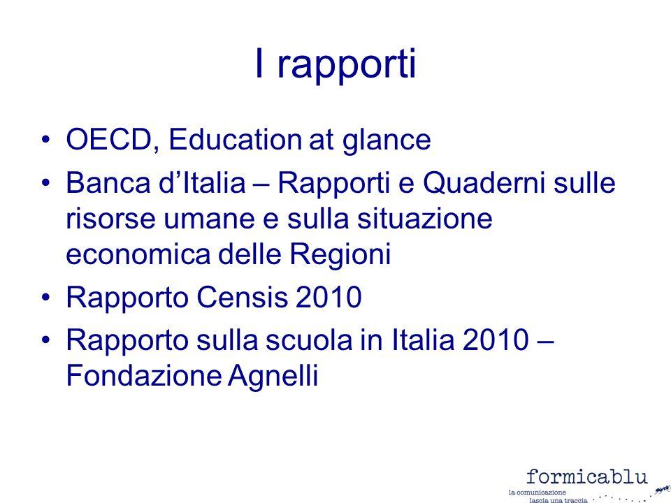 I rapporti OECD, Education at glance Banca dItalia – Rapporti e Quaderni sulle risorse umane e sulla situazione economica delle Regioni Rapporto Censis 2010 Rapporto sulla scuola in Italia 2010 – Fondazione Agnelli