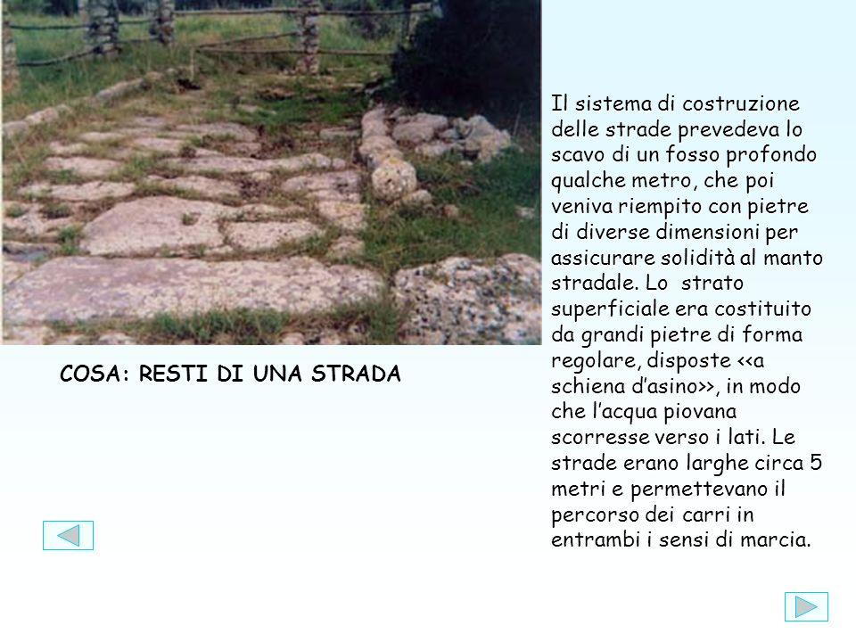 COSA: RESTI DI UNA STRADA Il sistema di costruzione delle strade prevedeva lo scavo di un fosso profondo qualche metro, che poi veniva riempito con pietre di diverse dimensioni per assicurare solidità al manto stradale.