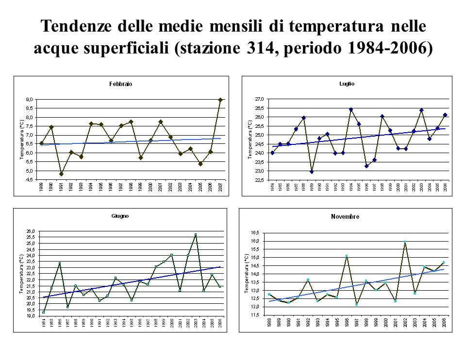 Tendenze delle medie mensili di temperatura nelle acque superficiali (stazione 314, periodo 1984-2006)