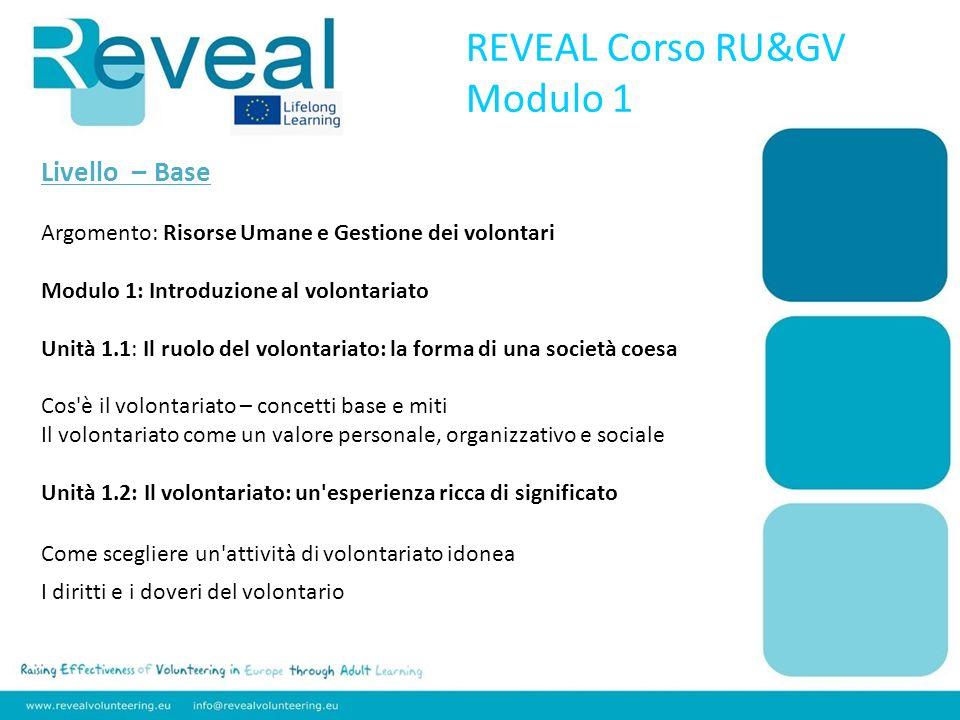 Livello – Base Argomento: Risorse Umane e Gestione dei volontari Modulo 1: Introduzione al volontariato Unità 1.1: Il ruolo del volontariato: la forma