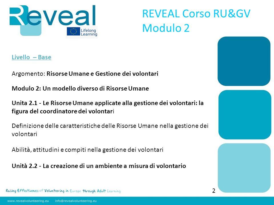 Livello – Base Argomento: Risorse Umane e Gestione dei volontari Modulo 2: Un modello diverso di Risorse Umane Unita 2.1 - Le Risorse Umane applicate
