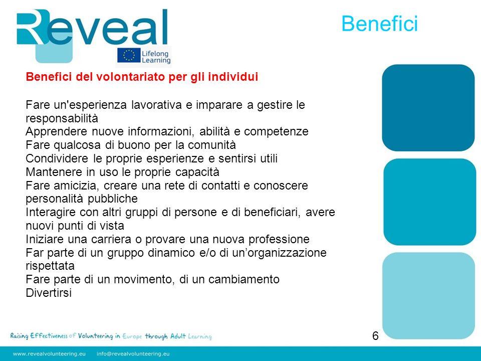 Benefici 6 Benefici del volontariato per gli individui Fare un'esperienza lavorativa e imparare a gestire le responsabilità Apprendere nuove informazi