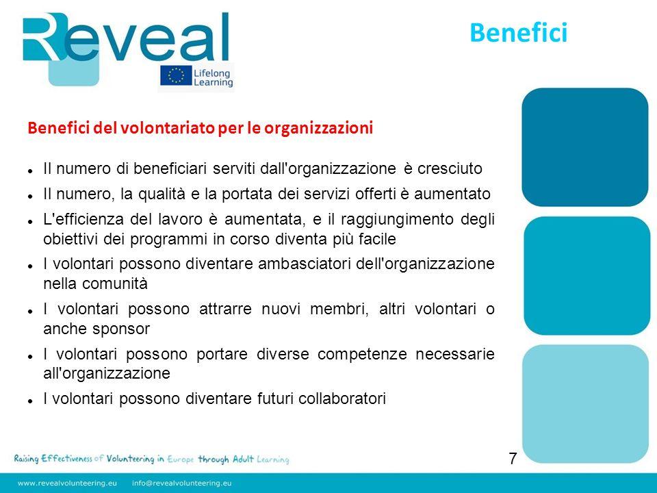 Benefici 7 Benefici del volontariato per le organizzazioni Il numero di beneficiari serviti dall'organizzazione è cresciuto Il numero, la qualità e la