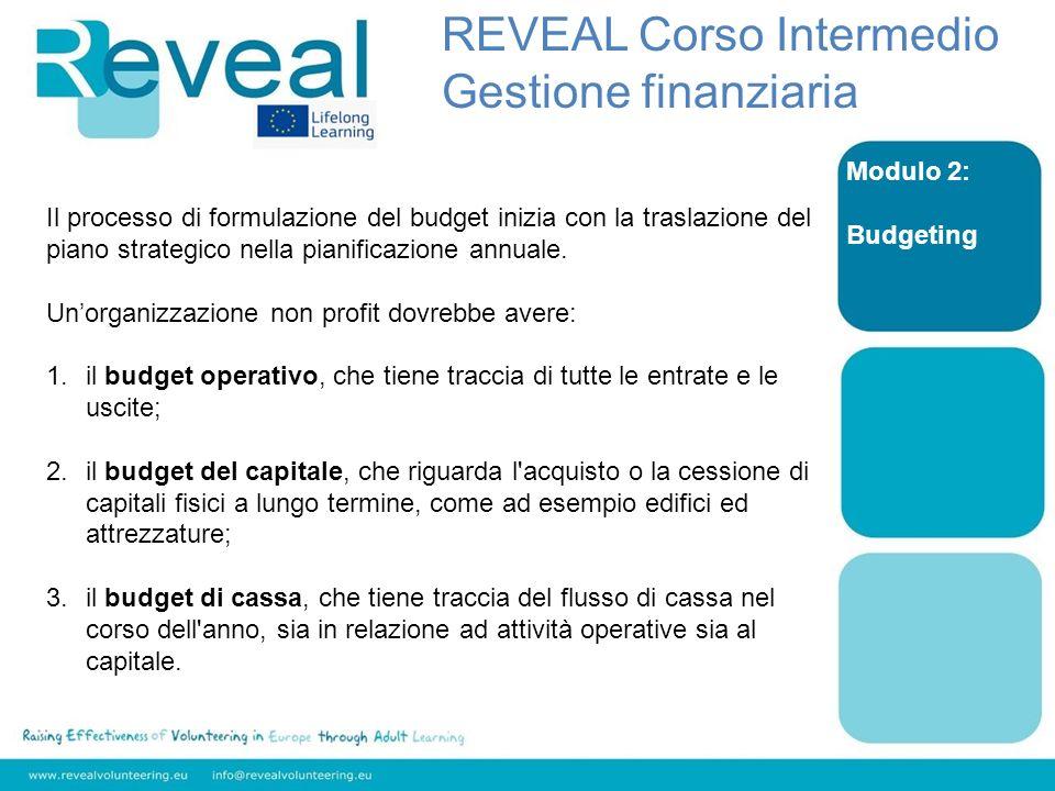 Modulo 2: Budgeting Il processo di formulazione del budget inizia con la traslazione del piano strategico nella pianificazione annuale. Unorganizzazio