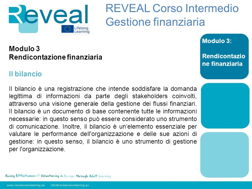 Modulo 3: Rendicontazio ne finanziaria Modulo 3 Rendicontazione finanziaria Il bilancio Il bilancio è una registrazione che intende soddisfare la domanda legittima di informazioni da parte degli stakeholders coinvolti, attraverso una visione generale della gestione dei flussi finanziari.