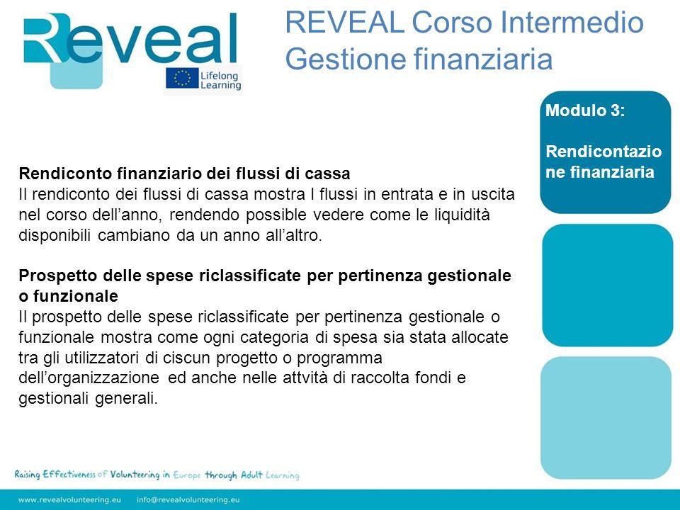 Modulo 3: Rendicontazio ne finanziaria Rendiconto finanziario dei flussi di cassa Il rendiconto dei flussi di cassa mostra I flussi in entrata e in us
