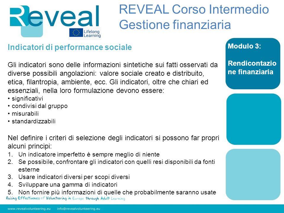 Modulo 3: Rendicontazio ne finanziaria Indicatori di performance sociale Gli indicatori sono delle informazioni sintetiche sui fatti osservati da dive