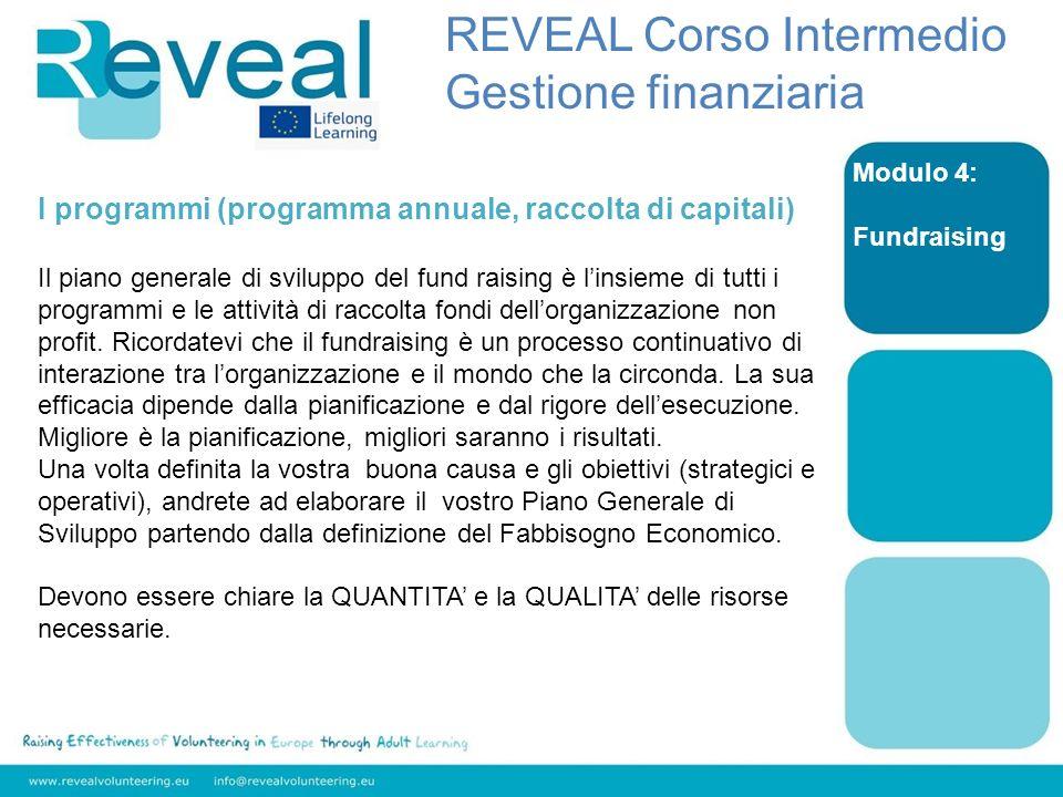 Modulo 4: Fundraising I programmi (programma annuale, raccolta di capitali) Il piano generale di sviluppo del fund raising è linsieme di tutti i progr
