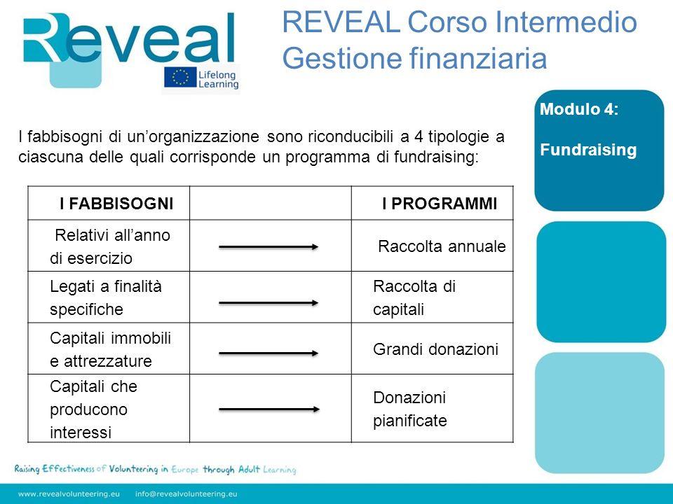 Modulo 4: Fundraising I fabbisogni di unorganizzazione sono riconducibili a 4 tipologie a ciascuna delle quali corrisponde un programma di fundraising