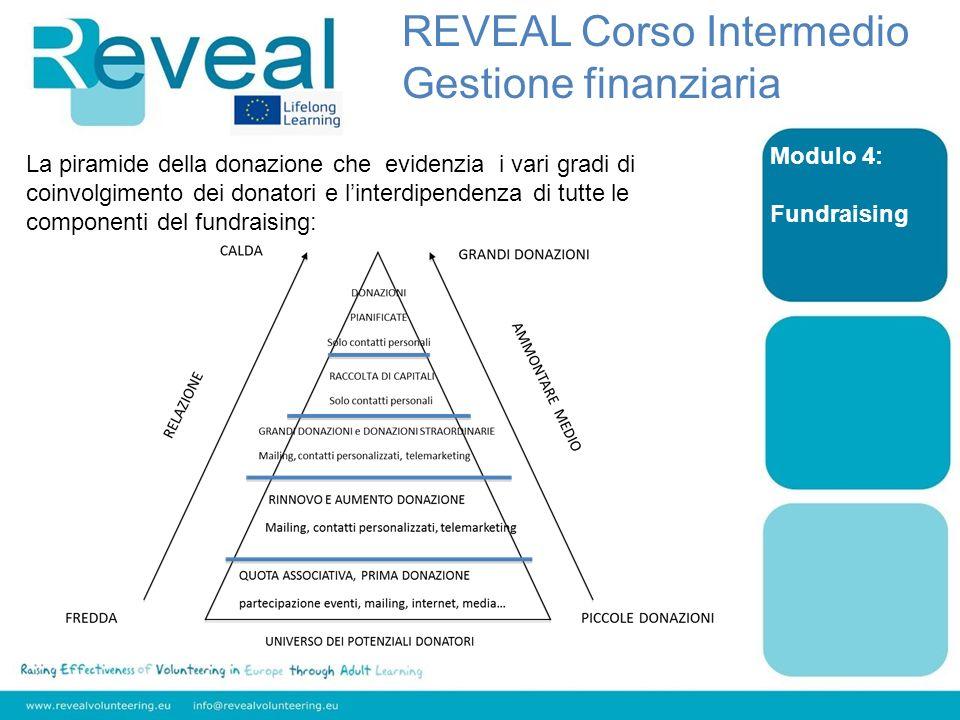 Modulo 4: Fundraising La piramide della donazione che evidenzia i vari gradi di coinvolgimento dei donatori e linterdipendenza di tutte le componenti del fundraising: REVEAL Corso Intermedio Gestione finanziaria