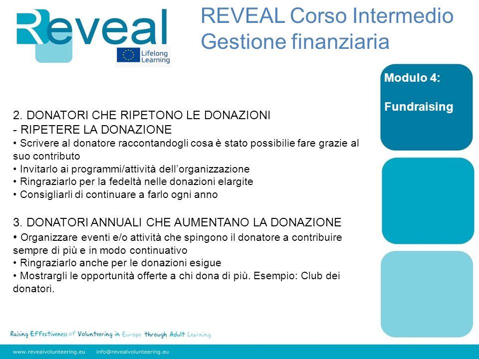 Modulo 4: Fundraising 2. DONATORI CHE RIPETONO LE DONAZIONI - RIPETERE LA DONAZIONE Scrivere al donatore raccontandogli cosa è stato possibilie fare g