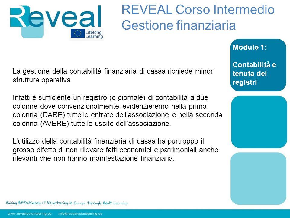 Modulo 1: Contabilità e tenuta dei registri REVEAL Corso Intermedio Gestione finanziaria La gestione della contabilità finanziaria di cassa richiede minor struttura operativa.