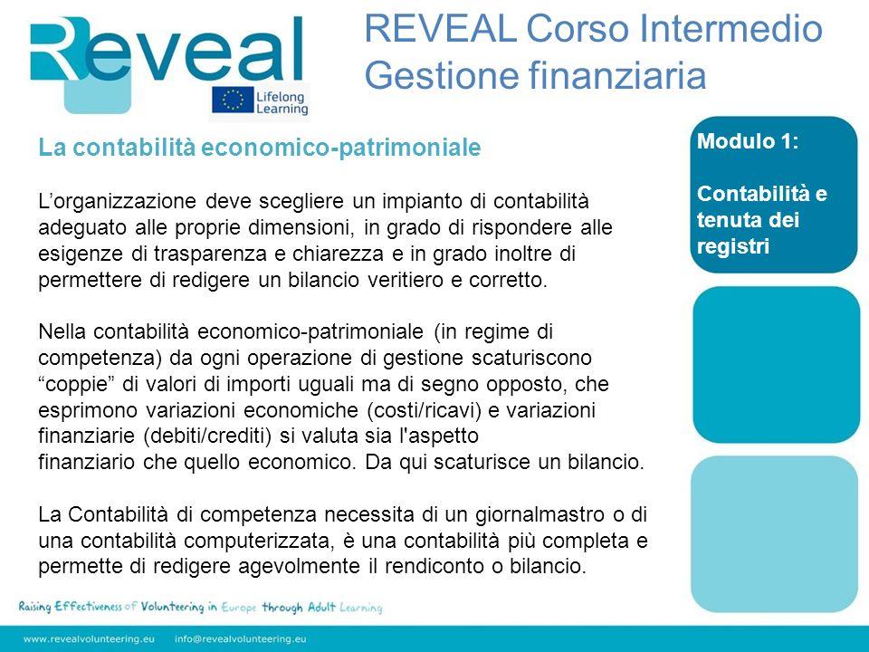 Modulo 1: Contabilità e tenuta dei registri REVEAL Corso Intermedio Gestione finanziaria La contabilità economico-patrimoniale Lorganizzazione deve sc