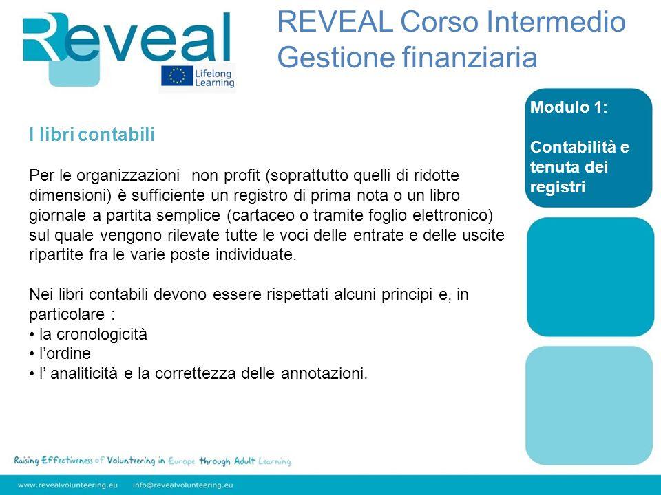 Modulo 1: Contabilità e tenuta dei registri REVEAL Corso Intermedio Gestione finanziaria I libri contabili Per le organizzazioni non profit (soprattut