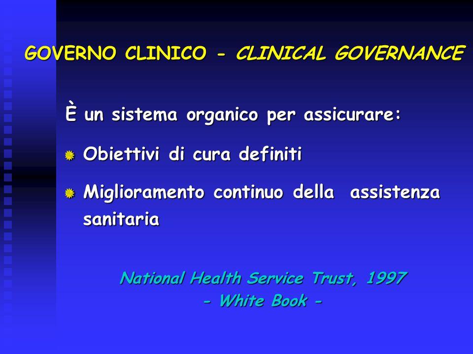 GOVERNO CLINICO - CLINICAL GOVERNANCE È un sistema organico per assicurare: Obiettivi di cura definiti Miglioramento continuo della assistenza sanitar