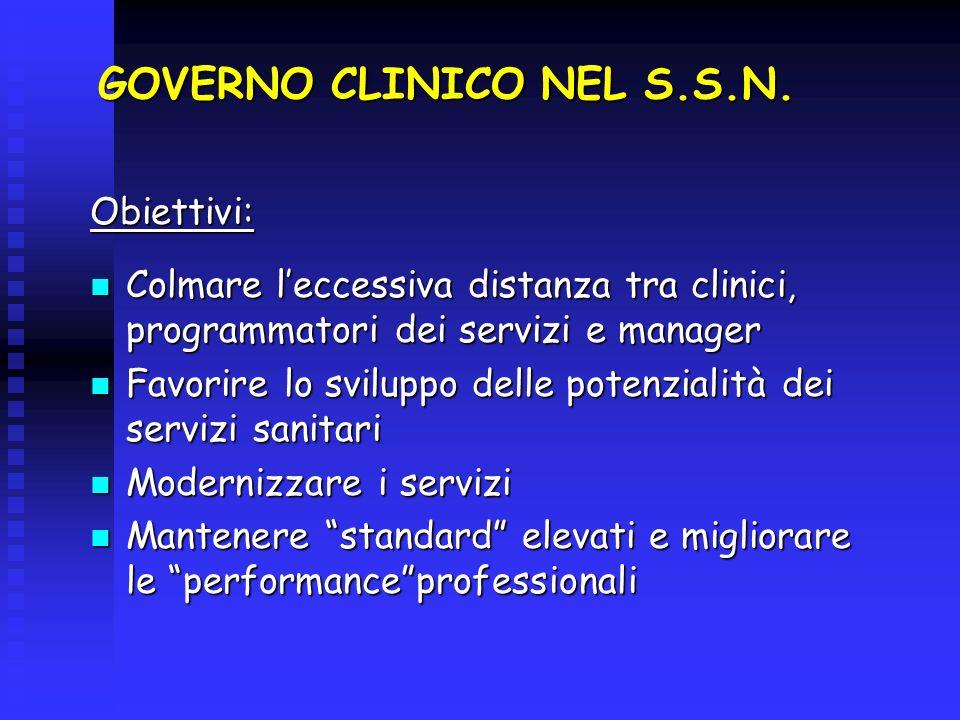 GOVERNO CLINICO NEL S.S.N. Obiettivi: Colmare leccessiva distanza tra clinici, programmatori dei servizi e manager Colmare leccessiva distanza tra cli