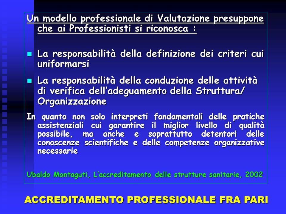 Un modello professionale di Valutazione presuppone che ai Professionisti si riconosca : La responsabilità della definizione dei criteri cui uniformars