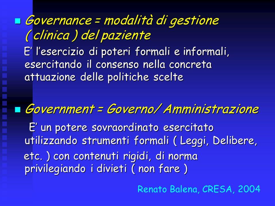 Governance = modalità di gestione ( clinica ) del paziente Governance = modalità di gestione ( clinica ) del paziente E lesercizio di poteri formali e