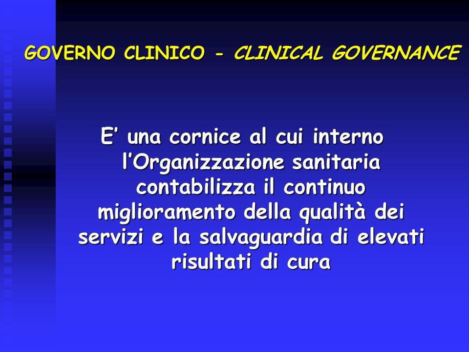 GOVERNO CLINICO - CLINICAL GOVERNANCE E una cornice al cui interno lOrganizzazione sanitaria contabilizza il continuo miglioramento della qualità dei