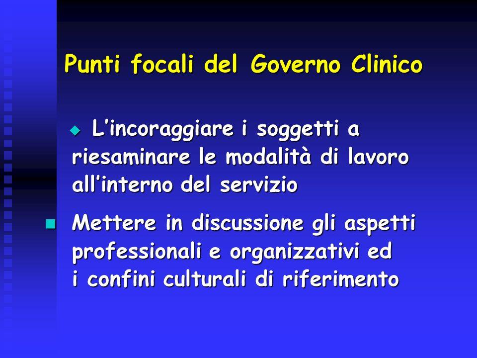 Punti focali del Governo Clinico Lincoraggiare i soggetti a Lincoraggiare i soggetti a riesaminare le modalità di lavoro riesaminare le modalità di la