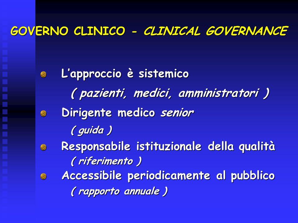 GOVERNO CLINICO - CLINICAL GOVERNANCE Lapproccio è sistemico Lapproccio è sistemico ( pazienti, medici, amministratori ) ( pazienti, medici, amministr