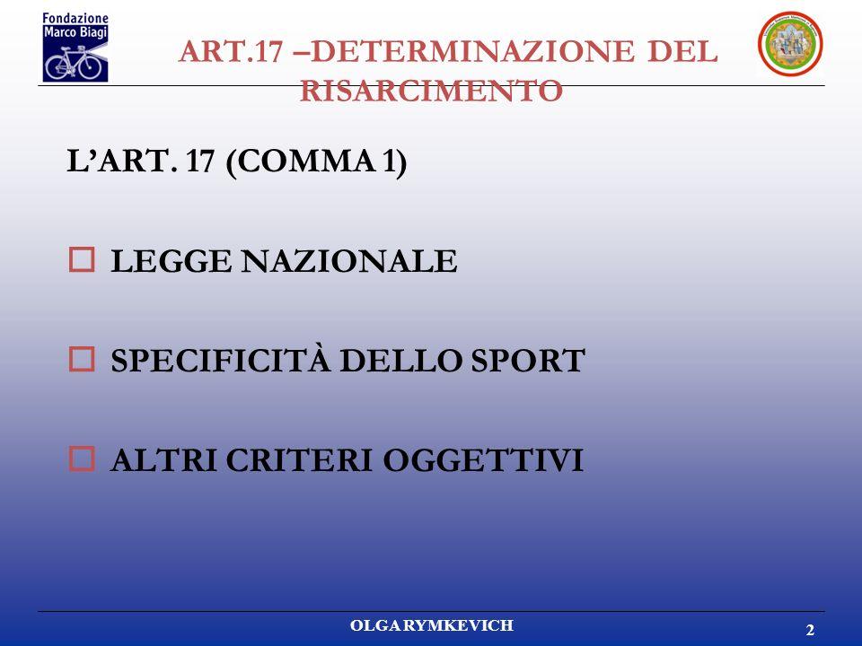 OLGA RYMKEVICH 2 LART. 17 (COMMA 1) LEGGE NAZIONALE SPECIFICITÀ DELLO SPORT ALTRI CRITERI OGGETTIVI ART.17 –DETERMINAZIONE DEL RISARCIMENTO