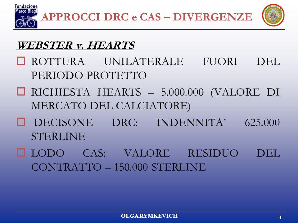 OLGA RYMKEVICH 4 APPROCCI DRC e CAS – DIVERGENZE WEBSTER v. HEARTS ROTTURA UNILATERALE FUORI DEL PERIODO PROTETTO RICHIESTA HEARTS – 5.000.000 (VALORE
